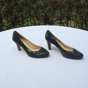 Cole haan snakeskin leather black pumps